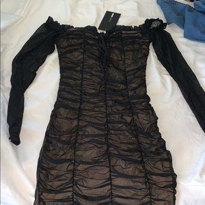 Fashion nova Black mesh dress with tan underlay